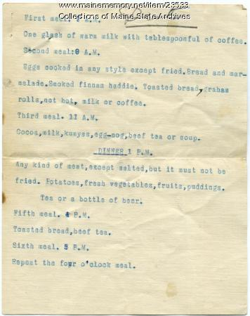 Maine Sanatorium diet, ca. 1906