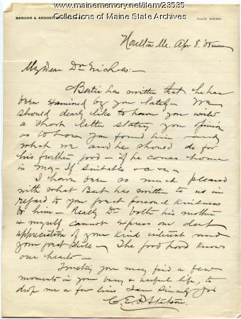 Letter concerning patient at Maine Sanatorium, 1909