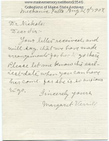 Letter about returning TB patient, 1908