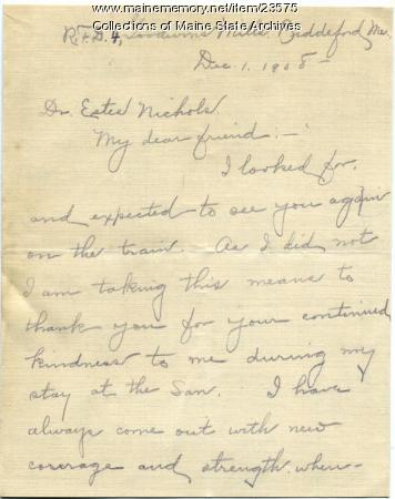 Letter of gratitude for treatment, 1908