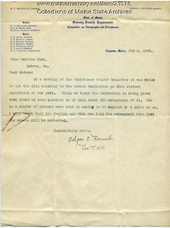 Letter withdrawing sanatorium opposition, 1909