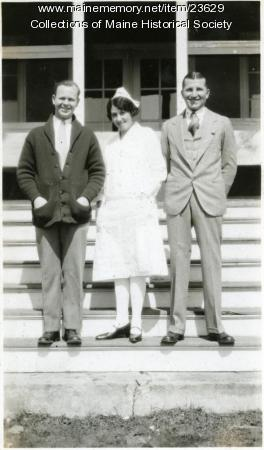 Patients and nurse, Western Maine Sanatorium, ca. 1929