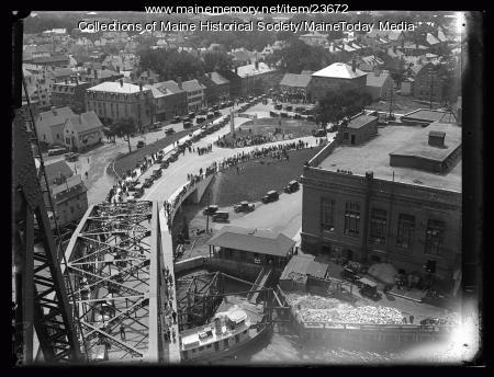 Aerial view, Portsmouth-Kittery Bridge, 1923