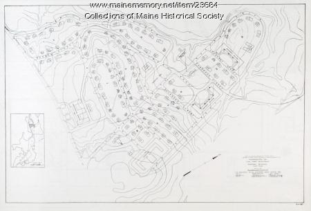 Temporary buildings plot plan, Passamaquoddy Tidal project, 1935