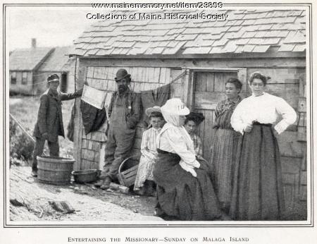 Malaga Islanders with missionary, ca. 1909