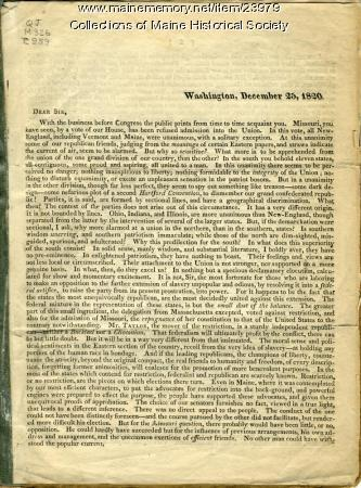 Letter about Missouri Compromise, 1820