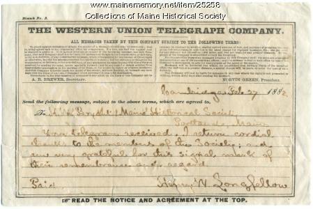 Henry Wadsworth Longfellow telegram, 1882
