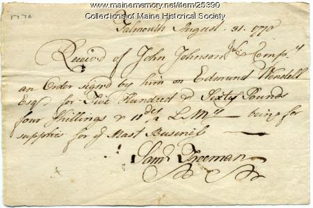 Receipt for mast supplies, Falmouth, 1770