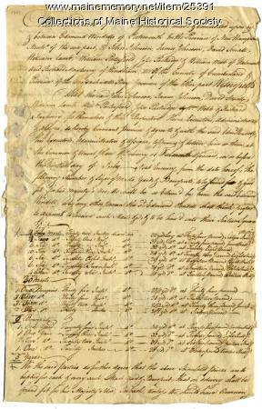 Agreement for masts, bowsprits and yards, 1769