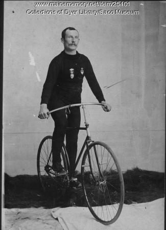 Jack Lawrence, Saco, on Bicycle, ca. 1900