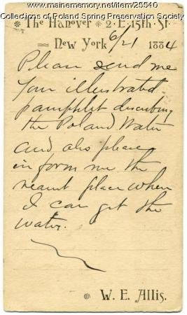 Request for water information, New York, 1884