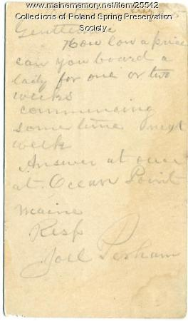 Poland Spring accommodation request, ca. 1885
