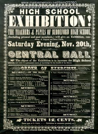 Biddeford High School Exhibition Advertisement, ca. 1900