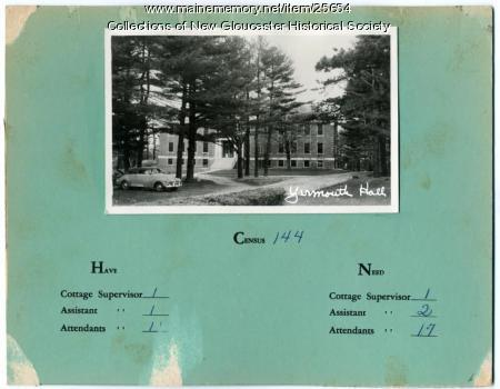 Yarmouth Hall, Pownal State School, ca. 1953
