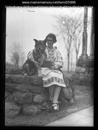 Elizabeth P. Ricker and Togo, Poland Spring, 1928