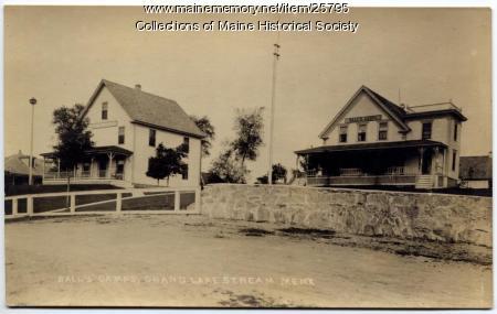 Ball's Camps postcard, Grand Lake Stream, ca. 1915