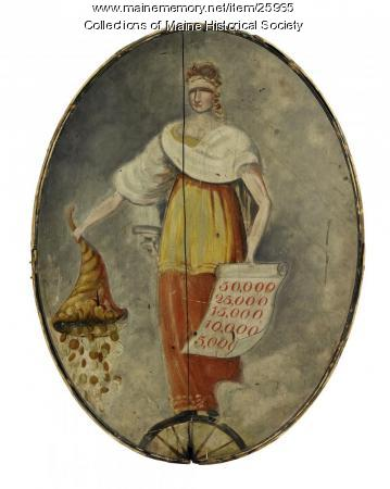 Lottery sign, Portland, ca. 1820