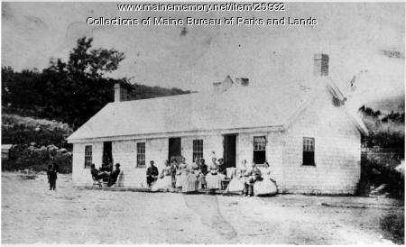 Soldiers, women outside barracks, ca. 1862