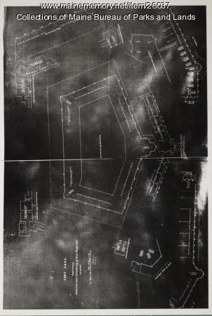 Fort Knox: Sketch Showing Positions and Numbering of Gun Platforms, 1873