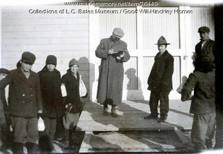 Good Will boys at barn, Fairfield, ca. 1915