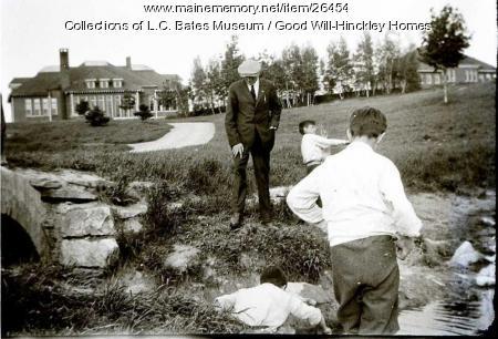 Orphans and G.W. Hinckley at Good Will Farm, Fairfield, ca. 1915
