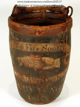 Cummings fire bucket, Deering, ca. 1813