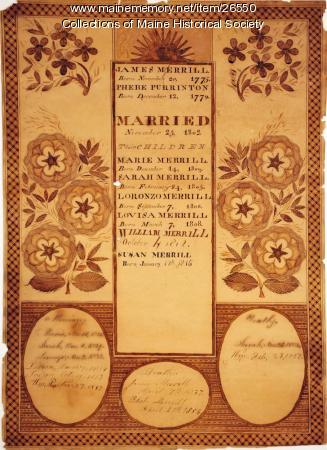 Merrill family record, ca. 1815