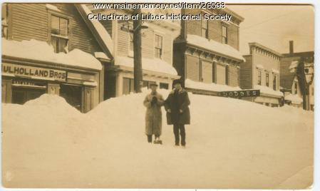 Water Street in snow, Lubec, ca. 1920