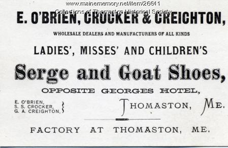 O'Brien Crocker Business Ad Card, Thomaston, ca.  1871
