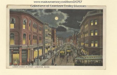 Lisbon Street by Night, Lewiston, ca. 1924