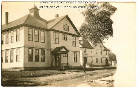 Hilltop School and Columbian Hall, Lubec, ca. 1910