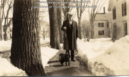 John Hewett and Judge, Main Street, Thomaston, ca. 1930