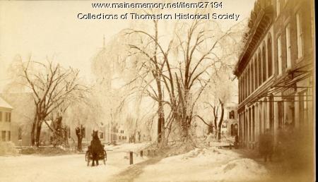 Ice Storm, Looking west on Main Street, Thomaston, 1888