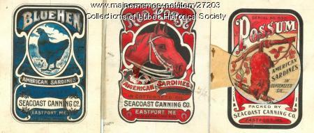 Sardine labels, Eastport, 1909