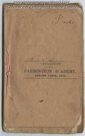 Farmington Academy Catalogue, 1838