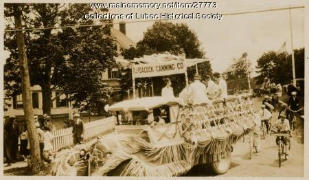 R.J. Peacock Canning Company Float, Lubec, ca. 1930