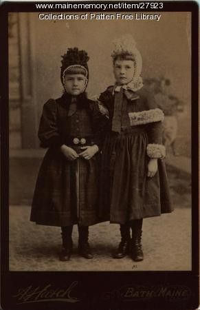 Lorena and Carrie Dunton, Bath, ca. 1890