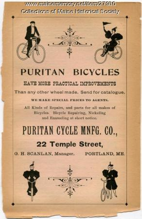 Puritan Bicycle ad, Portland, 1897