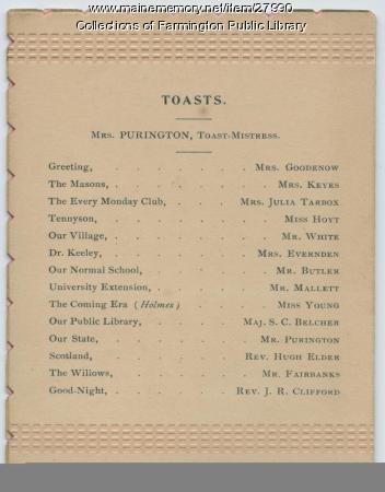 SEE NOTES Ladies' Third Annual Banquet. Farmington, Maine. 1893.  Back cover.