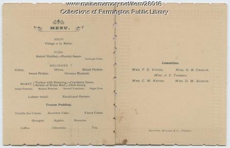 SEE NOTES Ladies Third Annual Banquet. Farmington, Maine. 1893. Menu.