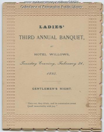 Ladies' Third Annual Banquet, Farmington, 1893