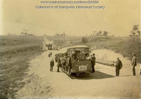 Bangor, Hampden and Winterport trolley, Hampden, ca. 1900