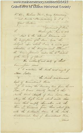 John Quincy Adams instruction on northeast boundary, 1823