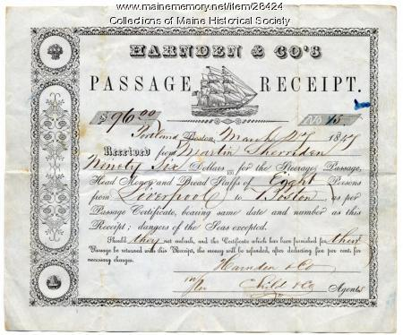 Liverpool to Boston ship passage receipt, 1847