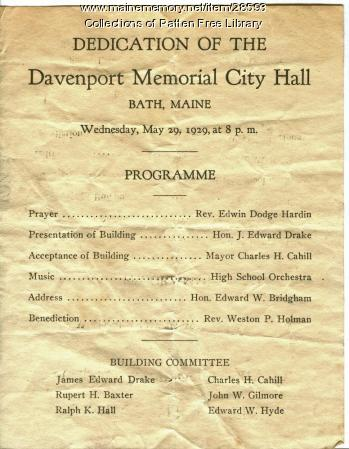 Dedication Program, Davenport Memorial City Hall, Bath, 1929
