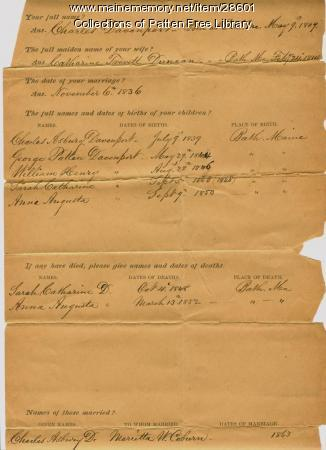 Davenport family genealogical worksheet, Bath, 1887