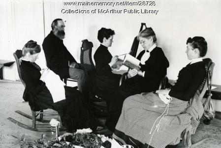 Middle-class ladies painting, reading and knitting in 1887