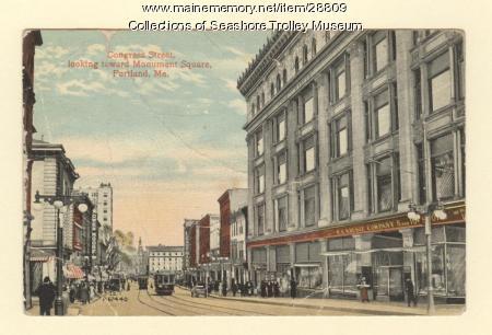 Congress Street, looking toward Monument Square, Portland, ca. 1910