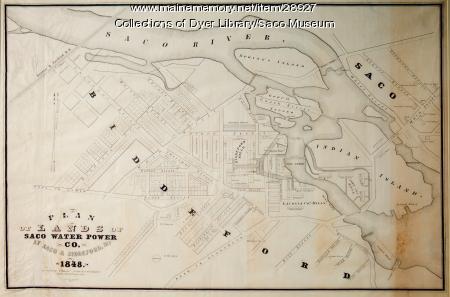 Plan of Lands of Saco Water Power Co. at Saco & Biddeford, 1848