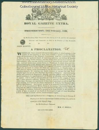 New Brunswick border dispute proclamation, 1839